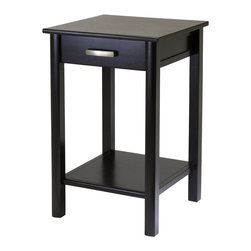 """Winsome Wood - Winsome Wood Liso Liso End Table / Printer Table with Drawer and Shelf X-91729 - Combination of solid and composite wood  printer stand from the coordinated Liso line of home office furniture.   The stand is 20.5""""L x 20.5""""Wx31.1""""H - more than enough space to accommodate all in one printers, fax and copy machines.  As with the other products in the Liso line, the stand is finished in matte Espresso color and ships ready to assemble with hardware and tools."""