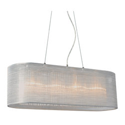 Bromi Design - Bromi Design Prescott Oval Silver Silk Lighting Pendant - the Prescott collection by Bromi Design comes in either a white  or Silk silver linen finish . The collection includes both single and double wall sconces. The oval silver silk lighting pendant is perfect for any dining or living room space.