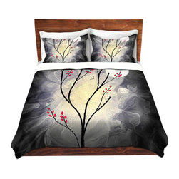 DiaNoche Designs - Duvet Cover Twill - I will still be Dreaming - Lightweight and super soft brushed twill Duvet Cover sizes Twin, Queen, King.  This duvet is designed to wash upon arrival for maximum softness.   Each duvet starts by looming the fabric and cutting to the size ordered.  The Image is printed and your Duvet Cover is meticulously sewn together with ties in each corner and a concealed zip closure.  All in the USA!!  Poly top with a Cotton Poly underside.  Dye Sublimation printing permanently adheres the ink to the material for long life and durability. Printed top, cream colored bottom, Machine Washable, Product may vary slightly from image.