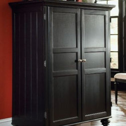"""American Drew 919-944 Home Office Cabinet Camden - Black - Home Office Cabinet - American Drew Camden - Black Collection 919-944Firm and robust the Home Office Cabinet by the elite American Drew is a spacious cupboard to protectively store your belongings. The non-decaying timber makes it a durable commodity. The glossy black finish reflects a classic hue. Elaborate and vivid it gets established wherever kept. Having one adjustable shelf and one fixed shelf it meets your contemporary needs. A humble regular care would keep its pristine shine intact. Being a customer-friendly product AD-919-944 is going to be popular in the market.Features:2 DoorsLeft Side: 1 Adjustable ShelfOpening: 27w x 20d x 24h1 Fixed ShelfPullout Keyboard TrayPull Out Printer Tray in BottomOpening: 27w x 20d x 16hPowerbarRight Side: 2 Adjustable ShelvesTop Opening: 13w x 20d x 28h1 Fixed Shelf2 DrawersPencil Tray in Top DrawerFile Storage in bottom DrawerWire ManagementThis Price Includes:Home Office CabinetItem:Weight:Dimensions:Home Office Cabinet287 lbs48"""" W X 25"""" D X 60"""" HManufacturer's Materials:Hardwood SolidsMaple Ash Veneers & Select Hardwoods"""