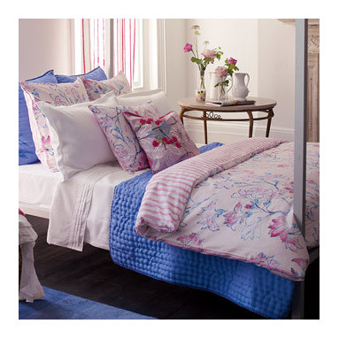 Magnolia Tree Printed Cotton Bedlinen - This pink bedding could stand alone or be mixed with soft blue to bring in more than one spring color.