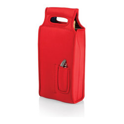 Picnic time - Samba-Red Two Bottle Wine Tote - The Samba Wine Tote from Picnic Time's Metro Collection provides a stylish yet practical way to bring wine or champagne to any party or get-together. It protects and insulates your favorite bottled beverages. The heavy-duty, form-fitting, neoprene tote has two separate insulated compartments for two 0.75mL bottles of wine, champagne, and some spirits. This wine tote features reinforced neoprene handles and an exterior corkscrew pocket that holds one stainless steel waiter-style corkscrew (included). The Samba Wine Tote is a great gift idea.