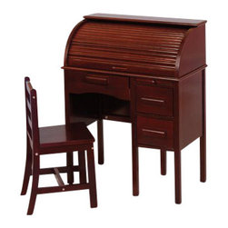 """Guidecraft - Guidecraft Jr. Rolltop Desk: Espresso - Guidecraft - Kid Desks - G97302 - Jr. Roll-top Desk with an espresso finish features a pull-out writing board lap drawer and two file drawers. The roll-top interior has multiple storage compartments pigeon holes and a pencil drawer. Chair included. Seat height 14.5"""". Adult assembly required."""