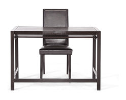 Baxton Studio - Baxton Studio Astoria Dark Brown Modern Desk and Chair Set - This simple desk fits into any interior design scheme. Made of very dark espresso brown solid rubberwood, this modern writing desk is sold as a set with a matching dark brown wood and faux leather chair, which is padded with foam for your comfort. The desk features a single long drawer with lipped front edge, making it ideal for a computer keyboard. The Astoria Desk requires assembly and is made in Malaysia. To clean, dust with a dry cloth.