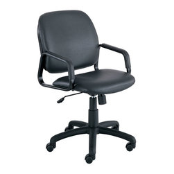Safco - Safco Cava Urth Straight Leg Guest Chair in Black Vinyl - Safco - Guest Chairs - 7046BV