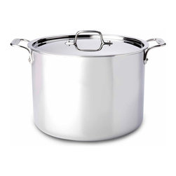All Clad - All Clad SS Stockpot, 12 qt. - Timeless design, outstanding performance, effortless cleaning and lifetime durability come together to make the Stainless Collection cookware  All-Clads most popular. Featuring innovative bonded construction combining an interior layer of aluminum for even heating and an 18/10 stainless cooking surface for optimum culinary performance, All-Clad Stainless cookware is a classic expression of ideal form and function. Premium tri-ply construction with an aluminium core to deliver even heat distribution.
