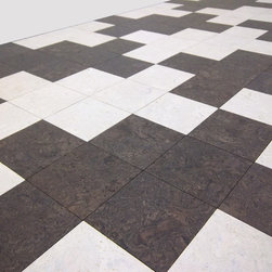 Globus Cork Glue-down Cork Tiles - A classic hounds tooth look using Glubus Cork 100% cork tiles. This is an easy pattern to install, just keep track of your design. You'll have a soft, quiet and very durable floor when you're done.