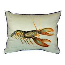 Betsy Drake - Betsy Drake Lobster Pillow- Indoor/Outdoor - Lobster Pillow- Large indoor/outdoor pillow. These versatile pillows are equal at enhancing your homes seaside decor and adding coastal charm to an outdoor setting arrangment. They feature printed outdoor, fade resistant fabric for years of wear and enjoyment. Solid back, polyfill. Proudly made in the USA.