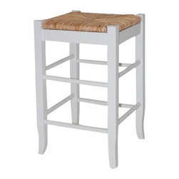 "Boraam - Boraam Square Rush 24"" Stationary Counter Stool in White - Boraam - Bar Stools - 94324 - Boraam's high quality products are well styled and priced right. Benefitting from years of experience in the industry. Boraam knows what you look for in quality furniture and takes pride in getting orders out as diligently as possible. Feel confident that Boraam will take your living space to another level."