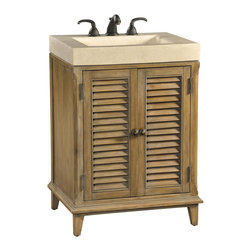 Ambella Home - Hampton Road Petite Sink Chest - This petite sink chest in the Hampton Road collection is crafted from gmelina solids with maple veneer. It features two doors and an integrated white agate fossil stone top and sink.   Imported.