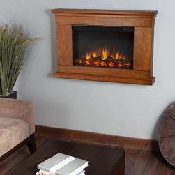 Real Flame - Real Flame Jackson Slim Line Wall Hung Electric Fireplace - Pecan Multicolor - 7 - Shop for Fire Places Wood Stoves and Hardware from Hayneedle.com! Hibernate the winter away with your Real Flame Jackson Slim Line Wall Hung Electric Fireplace - Pecan. This electric fireplace mounts safely on your wall to a mounting depth of only 6.1 inches while remaining cool to the touch. Its traditional pecan veneer adds a warm and homey feel to any room. The ultra-bright Vivid Flame LED technology can be adjusted to five different brightness settings. A functional remote timer and thermostat also make it easy to adjust this electric fireplace to your exact level of comfort.About Real FlameReal Flame is the original premium gel fuel designed for use with ventless gel fireplaces and accessories. For more than 25 years Real Flame has been the leading alcohol-based gel fuel on the market. Real Flame gel is an environmentally friendly non-toxic clean-burning gel that doesn't leave any soot smoke or ashes behind - so there's no messy cleanup. Best of all Real Flame creates a robust bright yellow orange and red flame that crackles just like a log fire. Made in the U.S.A.Real Flame is made from pure premium-grade isopropyl alcohol and thickeners to enhance stability. Real Flame is the safest most viscous (thick) gel fuel available on the market. It is not liquid and will not break down separate or liquefy as quickly as other brands. To maintain the integrity and stability of Real Flame all Real Flame gel cans are specially treated to prevent rusting on the inside. Environmentally FriendlyReal Flame is a safe clean-burning gel that is regularly tested by numerous independent labs. Air-quality results while burning Real Flame gel fuel fall well below the standards established by the Occupational Safety and Health Administration (O.S.H.A.) and the Environmental Protection Agency (E.P.A.). Each batch of Real Flame gel fuel production is closely monitored to ensure the highest quality. EfficiencyEach can of Real Flame gel fuel is designed to burn for up to 2.5 to 3 hours. If you wish to create a fire for a shorter period simply extinguish the flame and re-cap the can. Reuse any remaining gel fuel for your next fire. For each fire you may use one to three cans of gel fuel at a time depending on the size of fire you wish to create. When compared to cartridge-style cans one can of Real Flame gel fuel is available at a fraction of the cost. Growing PopularityMillions of consumers can't be wrong. Loyal customers have made Real Flame the leading gel fuel on market today. Don't be fooled by unscientific consumer polls. Real Flame is the original and best-selling gel fuel available and has been on the market the longest. Never settle for any other gel fuel in your Real Flame fireplace or accessories.