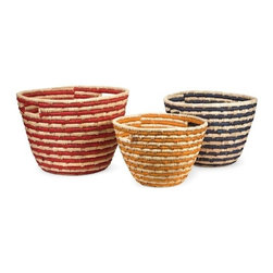 "IMAX - Carmen Sea Grass Catch-All Baskets - Set of 3 - This set of three Carmen catch-all baskets are woven from sea grass and feature alternating shades of natural grass to red, yellow and blue in a small, medium and large size. Item Dimensions: (8.75-10.25-12""h x 12.25-14.75-17""d)"