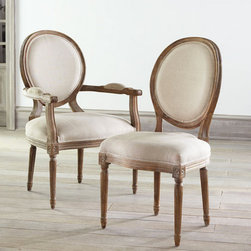 Louis XVI Dining Chair - Louis XVI dining chairs are the opposite of everything in this ideabook. They are royal, elegant and very classy. I imagine that I would feel like a queen while sitting in one. The fabric is nothing short of fabulous, and in a bolder pattern, they could definitely be the focal point of the room.