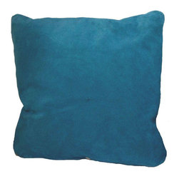 Suede Blue Throw Pillows in - Set of 3 - $475 Est. Retail - $300 on Chairish.com -
