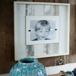 "White Wash Reclaimed Wood Frame - Now available in a Cape Code style white wash - our extra large frames (22"" x 22"") crafted of weathered and painted wood have a cream colored interior frame to feature an 8"" x 10"" photo. Easy front loading, clamping system under Plexiglas makes photo updates a breeze. Order with or without outside frame."