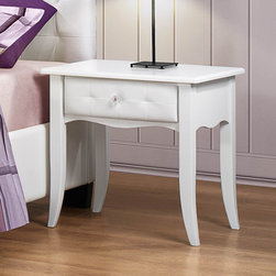 Homelegance - Homelegance Sparkle 1 Drawer Nightstand in White - The glamour girl in your life will swoon when she opens her bedroom door to the Sparkle Collection. Fashion forward and scaled to fit her needs  this trendy bedroom will make her the envy of all of her friends. White bi-cast vinyl is featured not only on the tufted headboard  but on the drawer fronts of each case piece and coordinating vanity and storage stools. Clear hardware is faceted for maximum sparkle and punctuates each drawer front. Matching vanity features a hidden mirror within the lift top storage area.