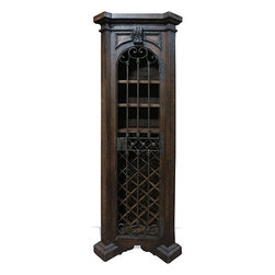 Thin Wine Cabinet, Brown Ochre with Scrolls - Thin Wine Cabinet, Brown Ochre with Scrolls