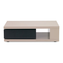Zuri Furniture - Benny High Gloss Taupe Lacquer Coffee Table - The minimalistic and clean-lined Benny modern coffee table features high gloss taupe lacquer and rotating contrasting dark espresso wood grain finish.
