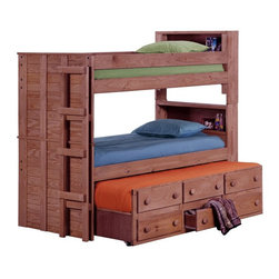 Chelsea Home - Chelsea Home Twin over Twin Bookcase Bunk Bed with Trundle - Mahogany - CHEL1474 - Shop for Bunk Beds from Hayneedle.com! Talk about getting everything you want and more the Chelsea Home Twin over Twin Bookcase Bunk Bed with Trundle - Mahogany Stain is the most convenient design you can find for organizing your kid's room. The twin over twin bunk beds feature bookcase headboards to keep bedside necessities nearby. The included pull-out trundle allows for an additional sleeper while four storage drawers provide extra room for toys and bedding. About Chelsea Home FurnitureProviding home elegance in upholstery products such as recliners stationary upholstery leather and accent furniture including chairs chaises and benches is the most important part of Chelsea Home Furniture's operations. Bringing high quality classic and traditional designs that remain fresh for generations to customers' homes is no burden but a love for hospitality and home beauty. The majority of Chelsea Home Furniture's products are made in the USA while all are sought after throughout the industry and will remain a staple in home furnishings.