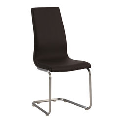 Chintaly Imports - Brown Cantilever High Back Side Chair (Set of 2) - Side chair available in beige and brown, Brushed nickel frame and beige or brown Upholstery