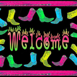 USA - Neon Boots Welcome, 36 X 60 Carpet - 20 oz. loop carpet with nonskid backing and a black edge binding. My art images are permanently applied by dye sublimation and wash with mild soap and water. Mats are approx. 3 / 8 inch  thick and are available in 3 sizes. Indoor out door use.