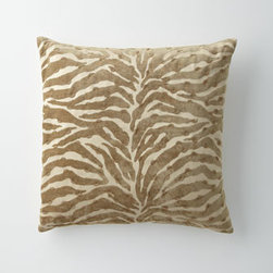 """Horchow - Animal Pillow with Metal Beads, 22""""Sq. - Gorgeous bed linens in soothing hues turn the bedroom into a island of tranquility. From Isabella Collection by Kathy Fielder. Marbleized jacquard duvet covers of rayon/polyester have polyester backing in a shantung weave. Ogee pillows, polyester/cott..."""