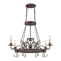 Jeremiah Lighting - 4 Light Pot RackBrookshire Manor Collection - The Brookshire Manor family of Lights creates a feeling of the old world charm with the use of draped chains and subtle scrolled metal treatment throughout the body of the fixture.