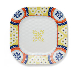 Q Squared NYC - Montecito Blue Dinner Plate Set/6 - Transport your dining table to historical Montecito with the beautiful, vibrant colors of this collection, inspired by the intricate tiles and textures of the romantic city.