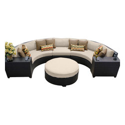 TKC - Bermuda 6 Piece Outdoor Wicker Patio Furniture Set 06c 2 for 1 Cover Set - Sink into the plush Cushions comfortably fitted between our Bermuda's curved arms. Espresso-colored all-weather rattan is expertly hand woven, wrapping every inch of the durable aluminum frame. Sturdy rust-resistant powder coated feet are color matched to Table Tops. Thick all-weather Cushions are enveloped in 2-year fade resistant acrylic upholstery.