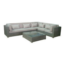 janus court designs - Olivia Outdoor Sectional, Grey Wicker/Natural Fabroc - Olivia 5 piece Outdoor Sofa sectional (including table )