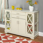 None - Antique White Kendall Buffet - Add style and organization to your home with this charming white Kendall buffet. Beautifully constructed of wood with glass window accents, this buffet features adjustable glass shelves and ample storage space for a functional and attractive addition.