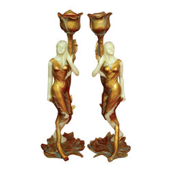 TLT - 10 Inch Hand Painted Resin Pair of Art Nouveau Lady Candle Holders - This gorgeous 10 Inch Hand Painted Resin Pair of Art Nouveau Lady Candle Holders has the finest details and highest quality you will find anywhere! 10 Inch Hand Painted Resin Pair of Art Nouveau Lady Candle Holders is truly remarkable.