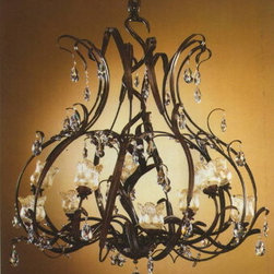 Artistica - Hand Made in Italy - Alba Lamp: Chandelier - Crystal/Rust - Alba Lamp Collection: