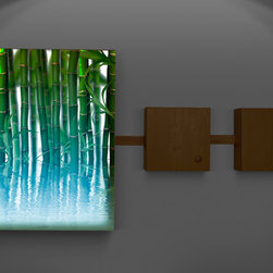 Lighted wall decor- color changing lights - Add ambiance to any room with this illuminated bamboo art wall box with two storage boxes.