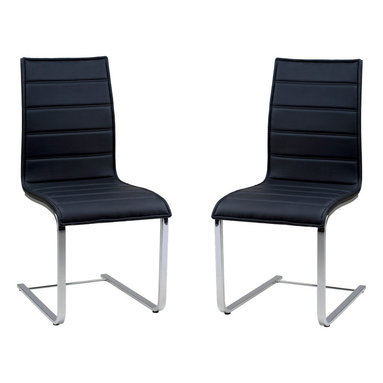 Armen Living - Contemporary Dining Chair In Black Oak And Stainless Steel Legs, Set Of 2 - Showcasing a sleek silhouette, bring chic style into your home or office with this modern side chair, creating incomparable harmony out of wood, leatherette and stainless steel.
