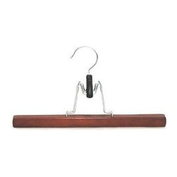 Proman Products - Genesis Flat Skirt Hanger in Walnut Finish - Set of 72. Chrome hardware