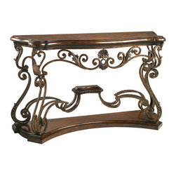 Lexington - Lexington Henry Link Trading Co. Bohemian Console 4011-903 - The serpentine hand-planed top features a parquet pattern of aged solid Mahogany, complimented by a solid Mahogany base. The intricate ironwork design is hand-forged and finished in antique brass with a slight texture to create a unique Old World patina. Decorative accents are solid brass using the lost wax process.