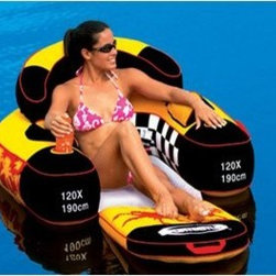 SportsStuff Siesta Lounge - Additional featuresInflatable backrest so you can really lean backDeflate and use handles for easy transportTake a load off and find your place in the sun on the Sportsstuff Siesta Lounge. Hang your feet in the water and cool off or fold out the chair to extend your legs for complete relaxation. Includes cup holders for two of your favorite beverages and plenty of storage for sun tan lotion and other necessities. This lounge chair features an inflatable backrest for the ultimate comfort while you're chilling on the water.