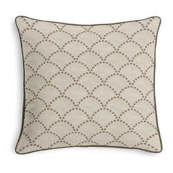 Brown Embroidered Scallop Motif Corded Pillow - Black and white photos, Louis XIV chairs, crown molding: classic is always classy. So it is with this long-time decorator's favorite: the Corded Throw Pillow.  We love it in this taupe embroidered pearls in art deco scallop motif on crisp, smooth light tan ground.