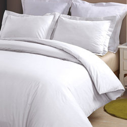 Blue Ridge Home Fashions - White 230-Thread Count Duvet Cover Set - Drift into sweet slumber with this soft and supple, 230-thread count duvet cover. Accompanied by a coordinating sham, this set protects a favorite comforter and pillow while adding a chic touch to any bedroom.   Includes duvet cover and sham 68'' W x 88'' L 100% cotton 230-thread count Machine wash Imported