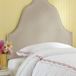 Home Decorators Collection - Custom Cadbury Upholstered Headboard - The lavish, scalloped arch of our Custom Cadbury Upholstered Headboard creates the perfect bed for the prince or princess in your life. The dramatic silhouette of this kids bed headboard is enhanced by elegant nailhead trim. You complete the look with your choice of beautiful upholstery. Solid pine frame with metal legs and polyester fill. Includes nailheads in brass or pewter finish. Easily attaches to any standard bed frame with included hardware. Spot clean only. Hand assembled in the USA and delivered in 2-4 weeks.
