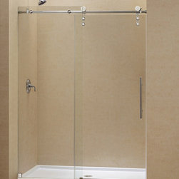 DreamLine - DreamLine Enigma-Z Fully Frameless Sliding Shower Door and SlimLine - The ENIGMA-Z sliding shower door and coordinating SlimLine shower base combine to create a convenient kit that completely transforms a shower space. The ENIGMA-Z sliding shower door shines with a Fully frameless design, premium glass and high functioning performance. The striking stainless steel hardware includes innovative wheel assemblies that glide effortlessly across the perfectly engineered track. A coordinating SlimLine shower base completes the picture with a sleek low profile design. Achieve the look and feel of custom glass at an exceptional value with this efficient DreamLine shower kit. Items included: Enigma-Z Shower Door and 36 in. x 60 in. Single Threshold Shower BaseOverall kit dimensions: 36 in. D x 60 in. W x 78 3/4 in. HEnigma-Z Shower Door:,  56 - 60 in. W x 76 in. H ,  Premium 3/8 (10 mm) thick clear tempered glass,  Brushed or polished stainless steel hardware finish,  Fully frameless glass design,  Width installation adjustability: 56 - 60 in.,  Out-of-plumb installation adjustability: No,  Advanced fully frameless glass design,  Effortless sliding operation with large wheel assemblies on a stainless steel track,  Includes anti-splash threshold to prevent water spillage (requires minimum threshold depth of 3 3/4 in.),  DreamLine exclusive Clear Glass protective anti-limescale coating,  Top bar may be shortened by cutting down up to 4 in. ,  Professional installation required,  Door opening: 22 - 26 in.,  Stationary panel: 29 3/8 in.,  Reversible for right or left door opening installation,  Material: Tempered Glass, Stainless Steel,  Tempered glass ANSI certified36 in. x 60 in. Single Threshold Shower Base:,  High quality scratch and stain resistant acrylic,  Slip-resistant textured floor for safe showering,  Integrated tile flange for easy installation and waterproofing,  Fiberglass reinforcement for durability,  cUPC certified,  Drain not included,  Center, righ