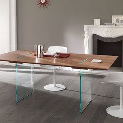 Tavolante Dining Table / Desk - With a subtle desire of free expression. Magically suspended the top in solid natural oak, canaletto walnut, wenge, sustained and crossed by two vertical glass panels.
