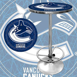 Trademark Global - Round Pub Table w NHL Vancouver Canucks Logo - Great for gifts and recreation decor. 0.125 in. Scratch resistant UV protective acrylic top. Full color printed logo is protected by the acrylic top. Table top is trimmed with chrome plated banding. 1 in. Thick solid wood table top. Chrome base with foot rest and adjustable levelers. 28 in. L x 28 in. W x 42 in. H (72 lbs.)This National Hockey League officially licensed pub table is the perfect for your game room on Hockey Night.