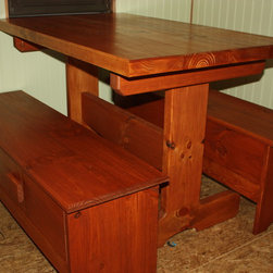 """Rustic Dining Table and Benches - Solid 1.75"""" pine"""