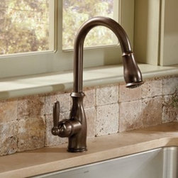 Moen Brantford Oil-rubbed Bronze One-handle high arc pulldown kitchen faucet - Moen.com