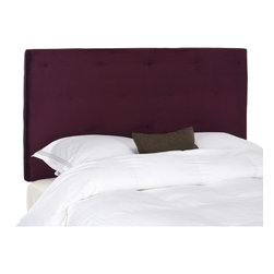Safavieh - Safavieh Martin Eggplant Purple Full/ Queen Headboard - Decorative button tufting gives this traditional Safavieh Martin full/queen purple headboard the look of a custom piece. The rich, Bordeaux cotton blend fabric upholstery over thick padding provides comfort when you're unwinding after a long day.