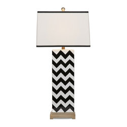 iMax - iMax Chandler Black Chevron Lamp X-71313 - In a black and white chevron pattern, this ceramic table lamp is a great lighting accessory to add modern style to any home.