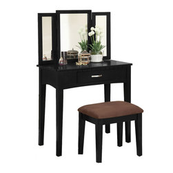 Adarn Inc. - 3 Piece Tri-Folding Mirror Vanity Set Make up Table Upholstered Stool, Black - This sleek contemporary vanity set will be a stunning addition to your bedroom or dressing area. It has a hinged three side mirror, easy slide drawer for storage and a padded vanity stool. The vanity has clean lines, with square tapered legs, and a center drawer to store brushes and frequently used items. The hinged three side mirror will add light to the room, while adding another convenient touch to help you get dressed. The matching stool features comfortable padded fabric covered seat. This simple and stylish set is available in White, Black and Espresso finish. Select your favorite one to your home for the ultimate in luxury, and a stunning completion to your room's ensemble.