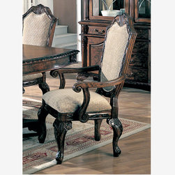 Coaster 2 Formal Deep Brown Wood Dining Arm Chairs Fabric Cushion Seat - Features